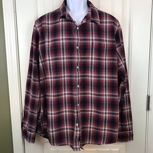 American Rag red blue plaid button front shirt